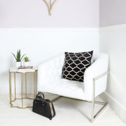 Gold And White Marble End Table Side Table With A Star Design