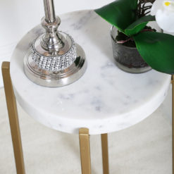 Gold And White Marble End Table Side Table With Cross Frame Base