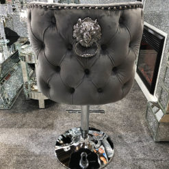 Diana Grey Velvet Upholstered Bar Stool Chrome Lion Knocker Tufted Back