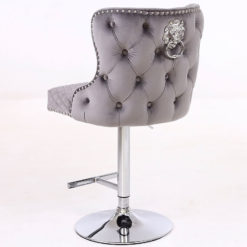 Grey Velvet Upholstered Bar Stool Chrome Lion Knocker Tufted Back