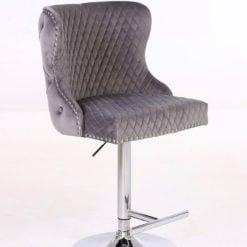 Grey Velvet Upholstered Bar Stool Chrome Lion Knocker Tufted Back