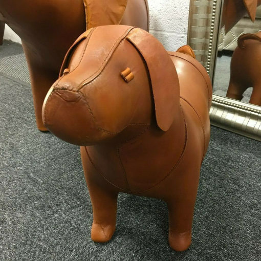 Handmade Leather Dog Character Animal Stool Footstool Seat Pouffe