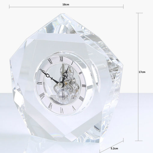 Heavy Clear Crystal Cut Glass Desk Mantle Table Clock Paperweight 17cm