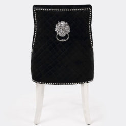 Pair Of Black Velvet And Chrome Dining Chairs With Lion Ring Knockers