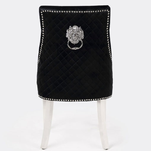 Camilla Black Velvet And Chrome Dining Chair With Lion Ring Knocker