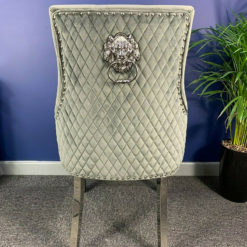 Grey Velvet And Chrome Dining Chair With Lion Ring Knocker