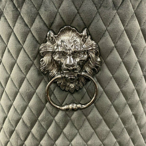 Pair Of Grey Velvet And Chrome Dining Chairs With Lion Ring Knockers