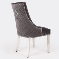 Annaliese Grey Velvet And Chrome Dining Chair With Lion Ring Knocker