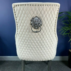 Camilla Mink Velvet And Chrome Dining Chair With Lion Ring Knocker
