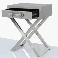 Pewter Faux Leather And Stainless Steel 1 Drawer End Table Side Table
