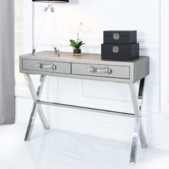 Pewter Faux Leather And Stainless Steel 2 Drawer Console Hallway Table