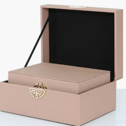 Set of 2 Rose Pink Nude Faux Leather Jewellery Storage Makeup Boxes