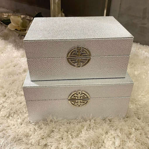 Set of 2 Silver Faux Leather Jewellery Storage Trinket MakeUp Boxes