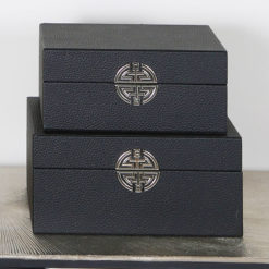 Set of 2 Textured Black Faux Leather Jewellery Storage Makeup Boxes