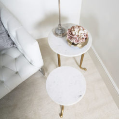 Set of 2 White And Gold Nesting Tables End Tables With Marble Tops
