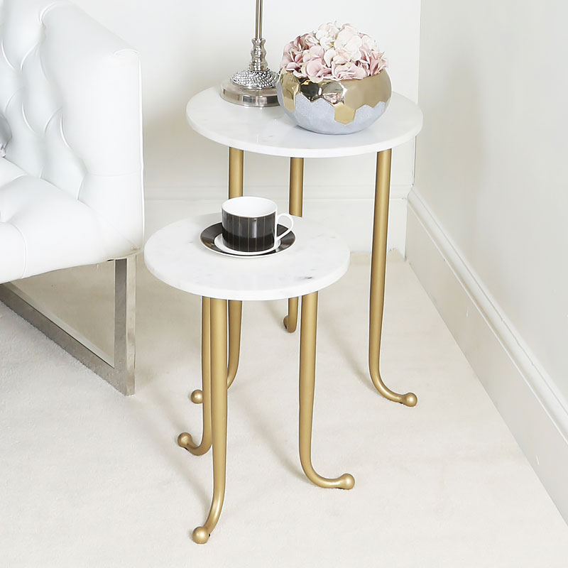 Set Of 2 White And Gold Nesting Tables End Tables With