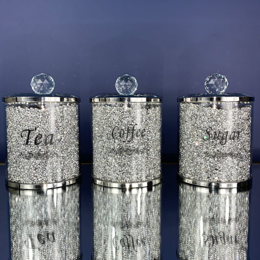 Silver Diamond Glitz Crystal Tea Coffee Sugar Set Of 3 Storage Jars