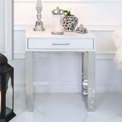 Silver Faux Stingray Leather And Stainless Steel 1 Drawer End Table