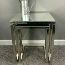 Silver Sparkly Stainless Steel 2 Mirrored Nest Of Tables End Table