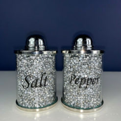 Sparkle Silver Diamond Glitz Crushed Crystal Salt Pepper Set Shaker
