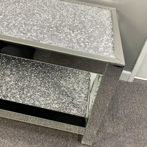 Sparkling Large Diamond Glitz Double Shelf Mirrored Coffee Table