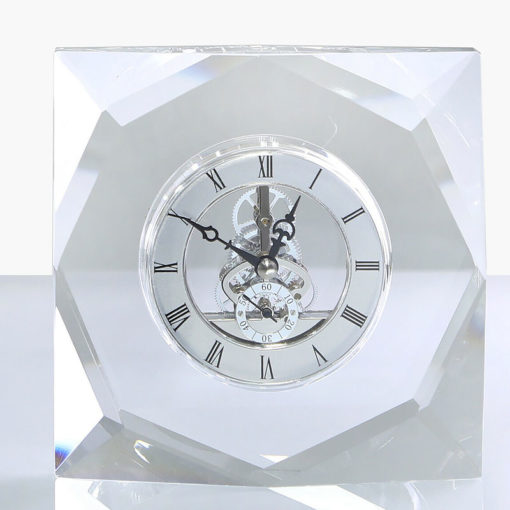 Square Clear Crystal Cut Glass Desk Mantle Table Clock Paperweight
