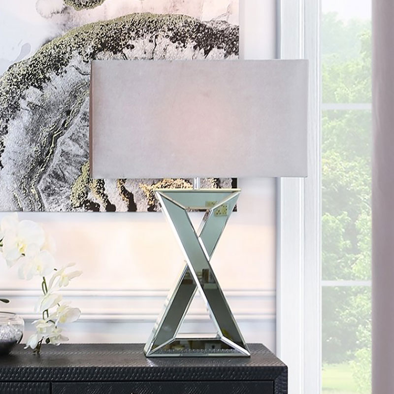 X Shape Mirrored Table Lamp With Rectangle Grey Velvet Shade 72cm Picture Perfect Home