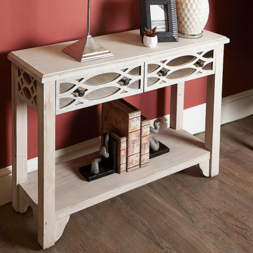 2 Drawer Washed Ash Mirrored Console Dressing Table With Helix Pattern