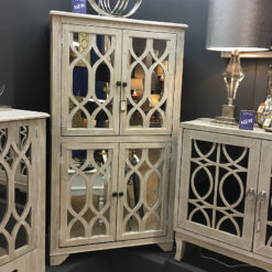 4 Door Washed Ash Mirrored Cupboard With A Helix Pattern