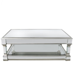 Athens Silver Mirrored Low Coffee Table Lounge Table
