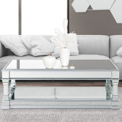 Athens Silver Venetian Mirrored Coffee Table Lounge Table