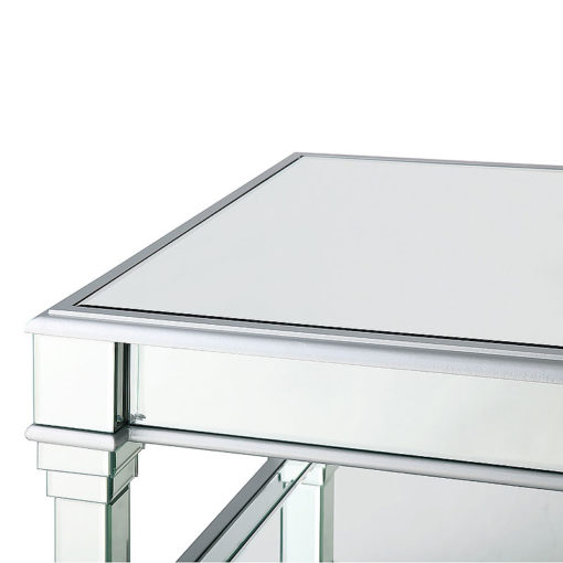 Athens Silver Venetian Mirrored Low Coffee Table Lounge Table