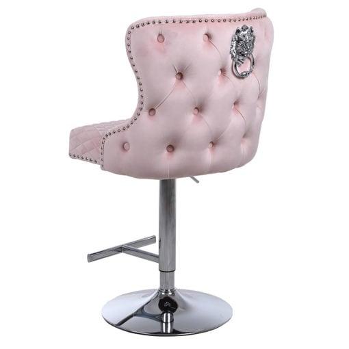 Diana Pink Velvet Upholstered Bar Stool Chrome Lion Knocker Tufted Back