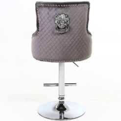 Grey Velvet And Chrome Upholstered Bar Stool With A Lion Ring Knocker