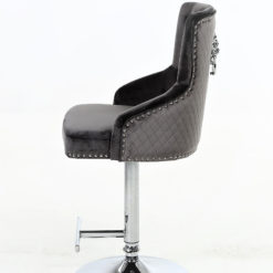 Grey Fabric And Chrome Upholstered Bar Stool With A Lion Ring Knocker