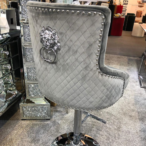 Camilla Grey Velvet And Chrome Bar Stool With A Lion Ring Knocker
