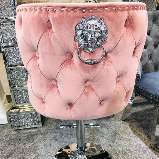 Diana Pink Velvet Upholstered Bar Stool Chrome Lion Knocker Tufted Back