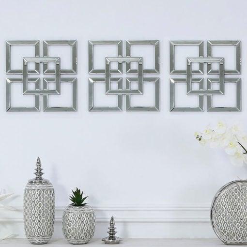 Small Geo Mirrored Wall Art 40cm