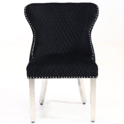 Diana Wide Black Velvet And Chrome Dining Chair With Lion Ring Knocker