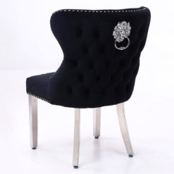 Wide Black Velvet And Chrome Dining Chair With Lion Ring Knockers