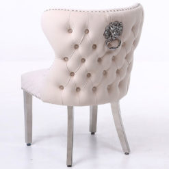 Wide Cream Mink Velvet And Chrome Dining Chair With Lion Ring Knocker