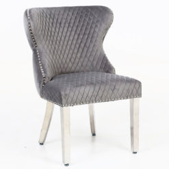 Anais Wide Grey Velvet And Chrome Dining Chair With Lion Ring Knocker