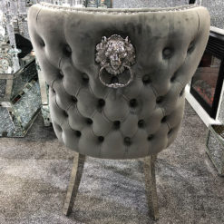 Wide Grey Velvet And Chrome Dining Chair With Lion Ring Knocker