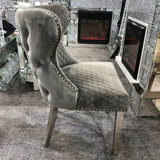Diana Wide Grey Velvet And Chrome Dining Chair With Lion Ring Knocker