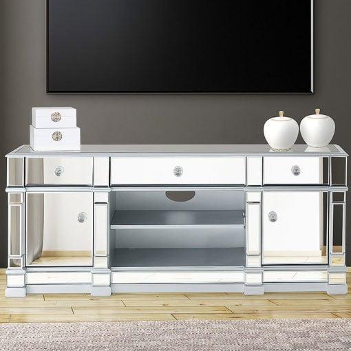 Athens Silver Medium Mirrored TV Entertainment Stand