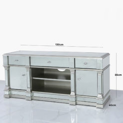 Athens Silver Medium Mirrored TV Entertainment Stand