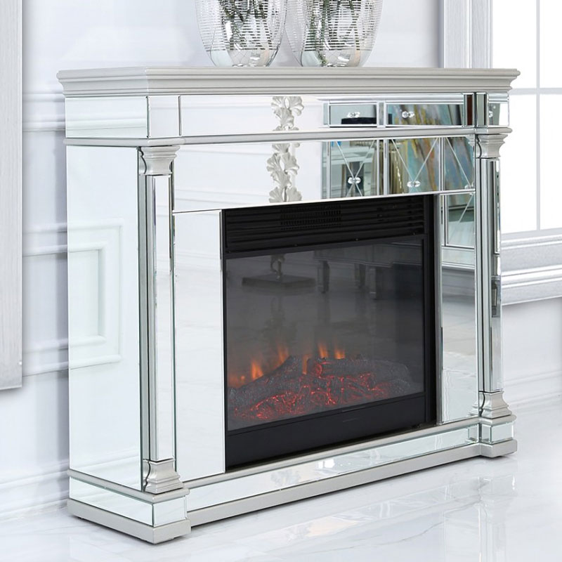 Athens Silver Mirrored Fireplace Surround With Electric Fire Insert Picture Perfect Home
