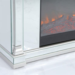 Athens Silver Mirrored Fireplace Surround With Electric Fire Insert