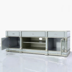 Athens Silver Mirrored TV Entertainment Stand - Large