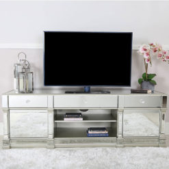 Athens Antique Silver Mirrored TV Entertainment Stand - Large